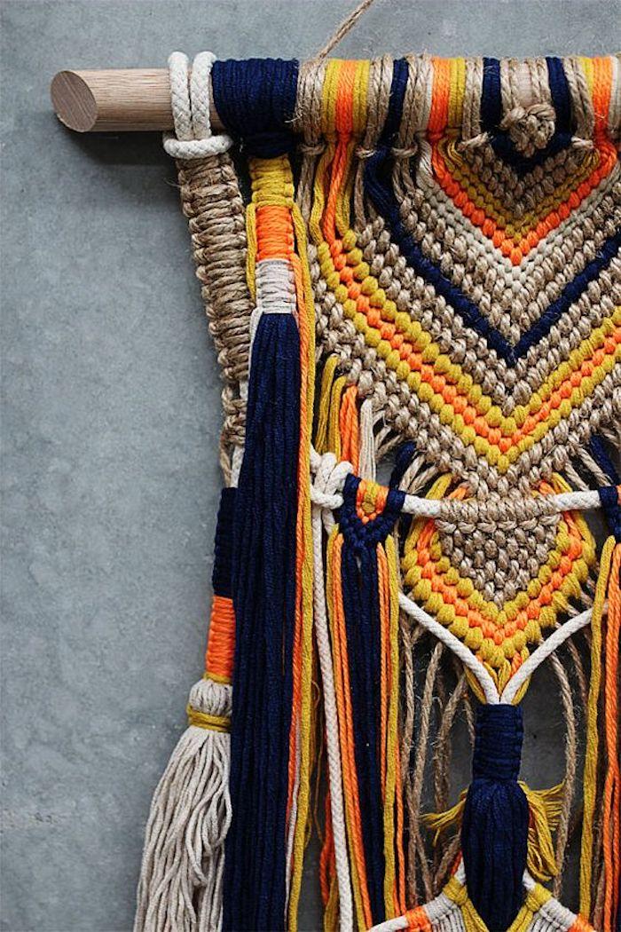 suspension macrame diy couleurs ethnique corde bleu jaune orange deco murale