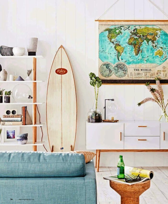 maison californienne decoration surf planche salon californie