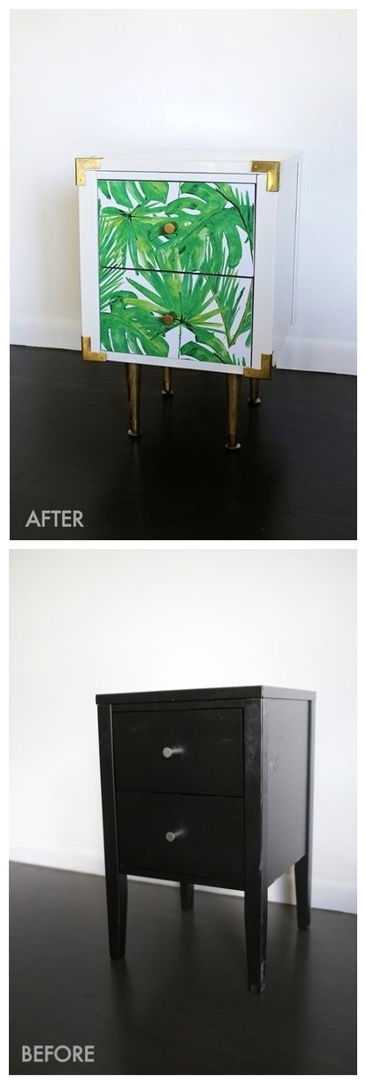 ikea hack table de nuit chevet retro sur pied laiton superfront urban jungle blog deco