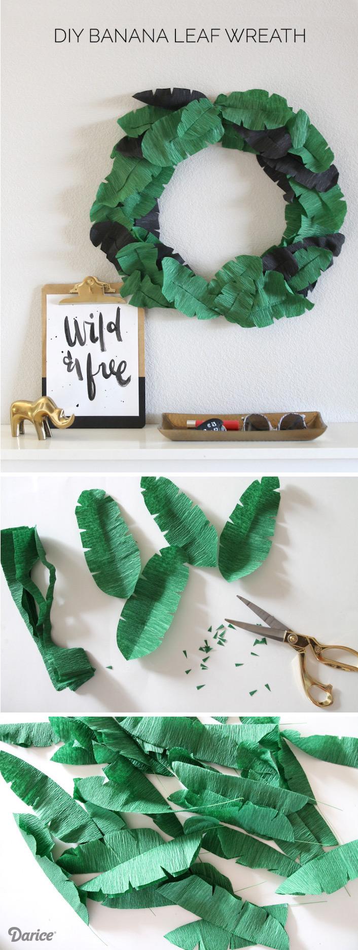 couronne papier de soie diy tendance tropicale blog deco clemaroundthecorner