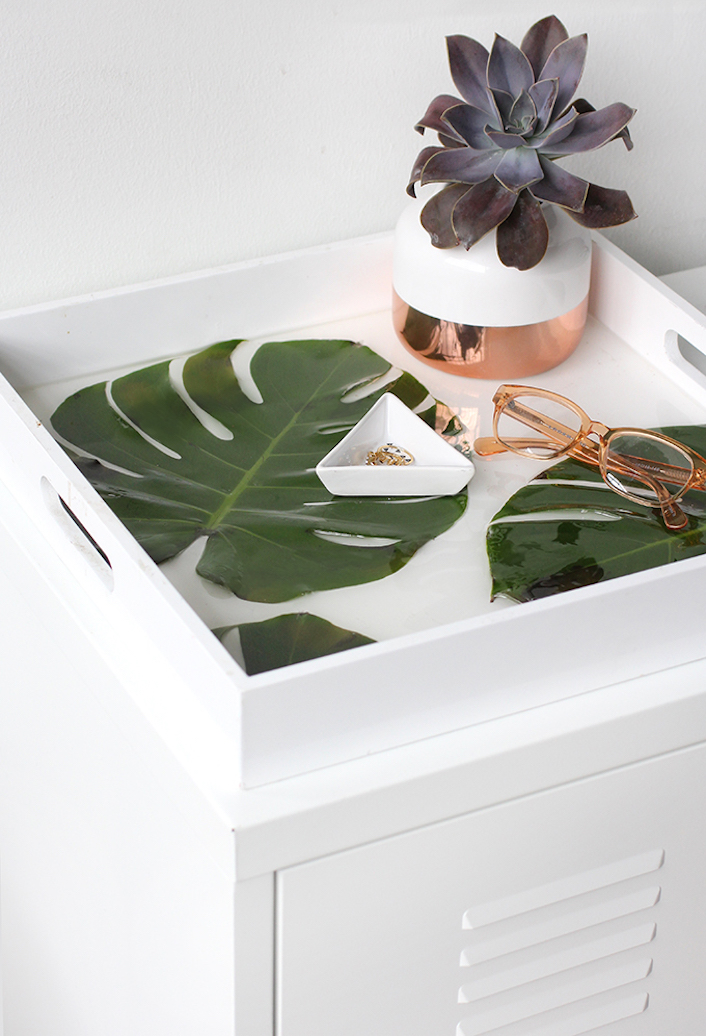 plateau monstera tendance tropicale blog deco diy clem around the corner