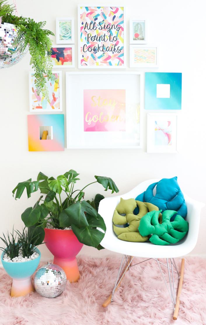 diy tutoriel couture facile débutant enfant coussin en forme de feuille monstera blog - blog décoration intérieure - clem around the corner