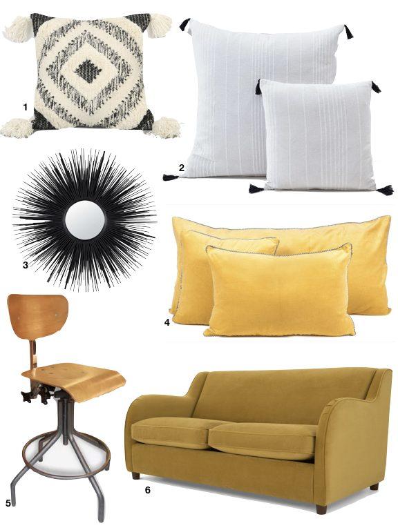 deco cosy jaune moutarde canape velours couvertible moderne retro vintage