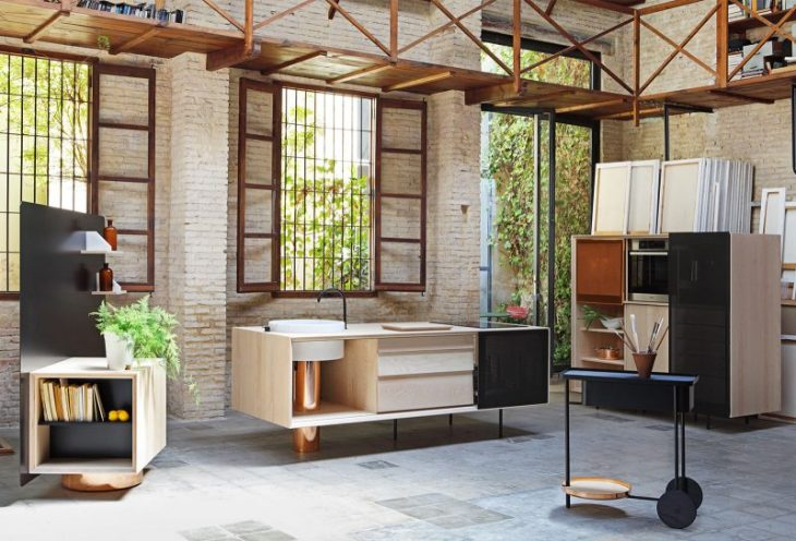cuisine démontable mobile modulaire cuivre marbre acier perfore