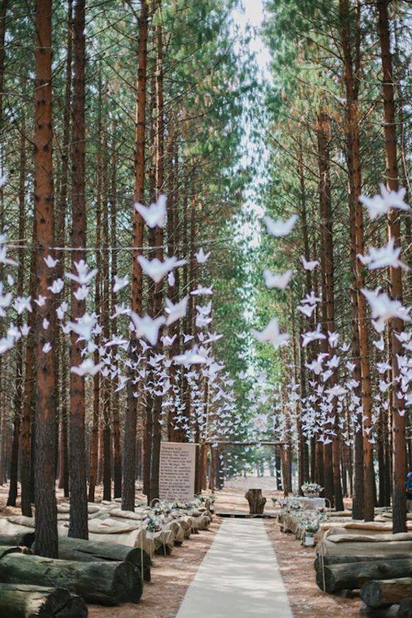 deco ceremonie laique alle centrale oiseaux papier foret
