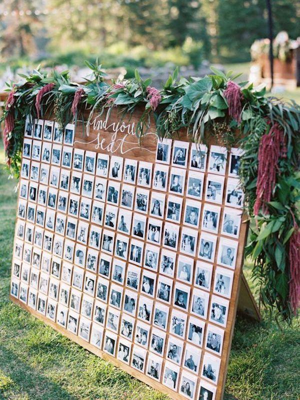 deco ceremonie laique photos polaroid nature planche en bois