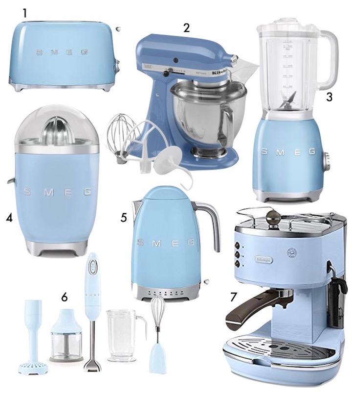 electromenager ustencile de cuisine bleu glacier clair design blog clem around the corner