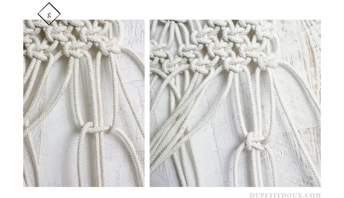 suspension macrame diy creation finition ligne noeud deco mur
