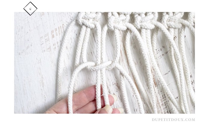 suspension macrame diy decoration noeud blanc corde
