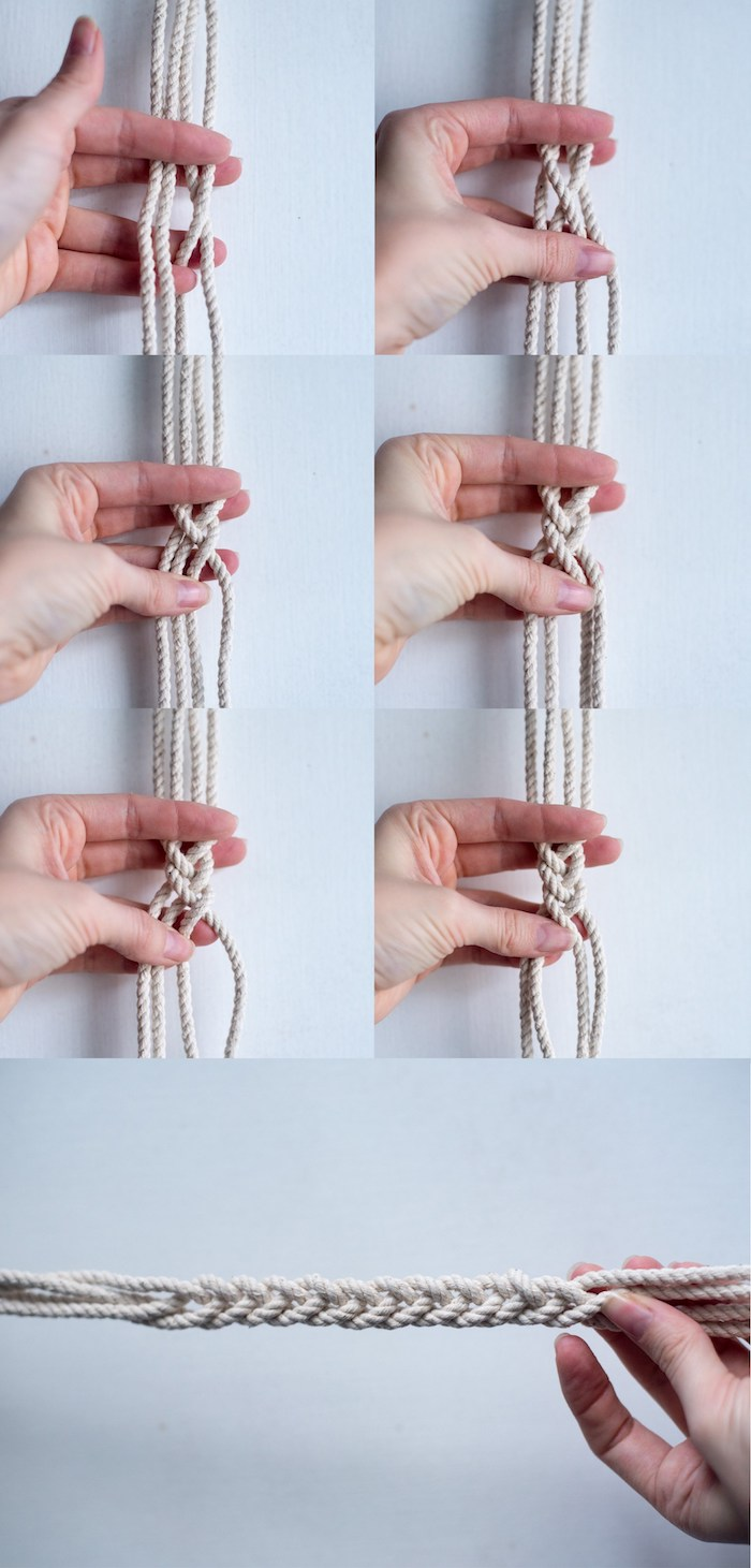 suspension macrame diy etapes pot fleurs suspendu tressage