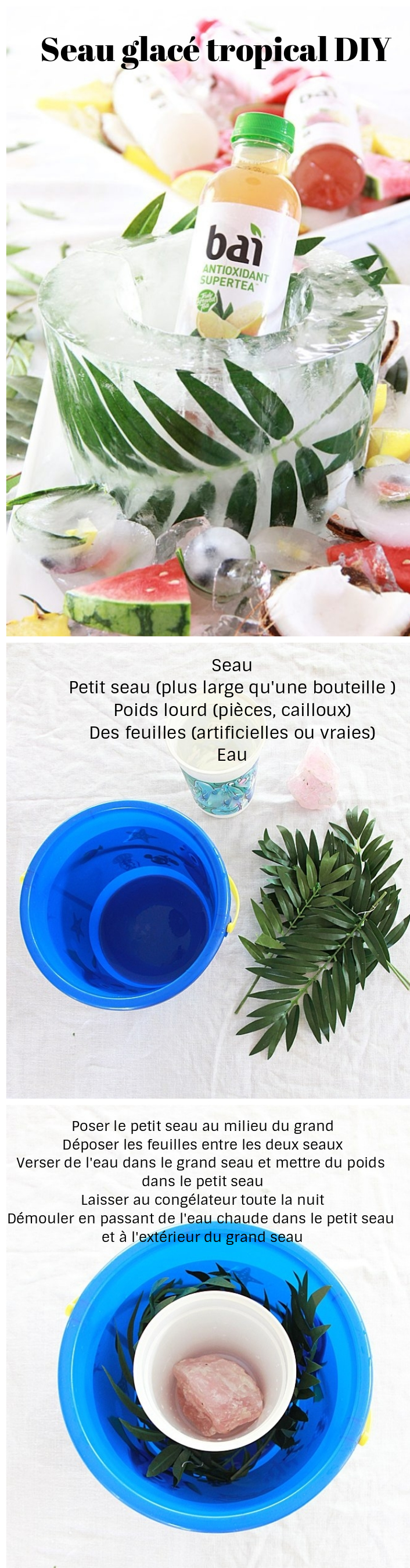 tendance tropicale diy seau champagne glace feuille deco mariage