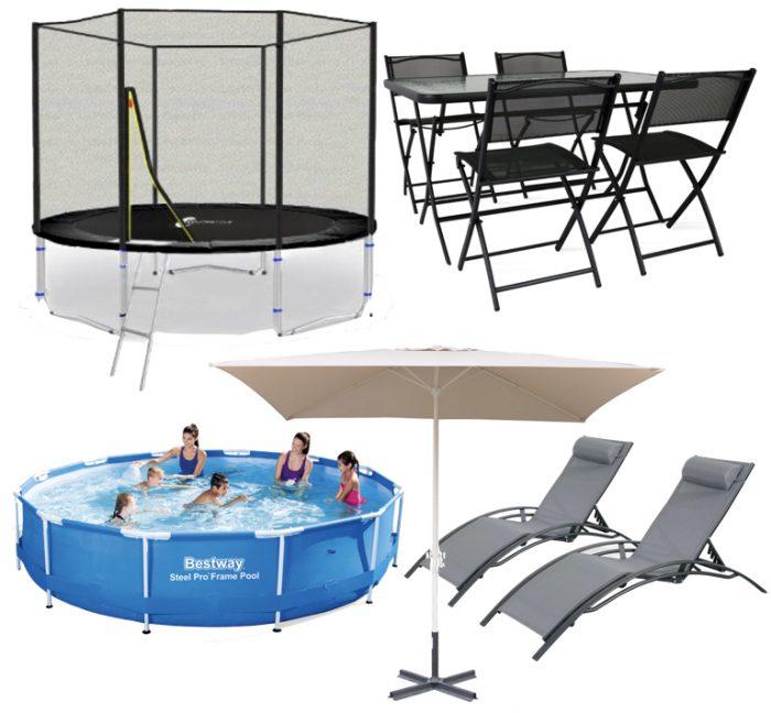 terrasse et jardin enfants famille parents trampoline piscine transat parasol