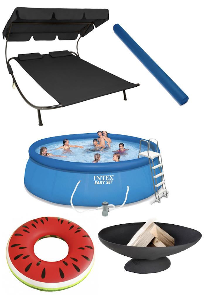terrasse et jardin pool party enfants famille piscine transat bouee