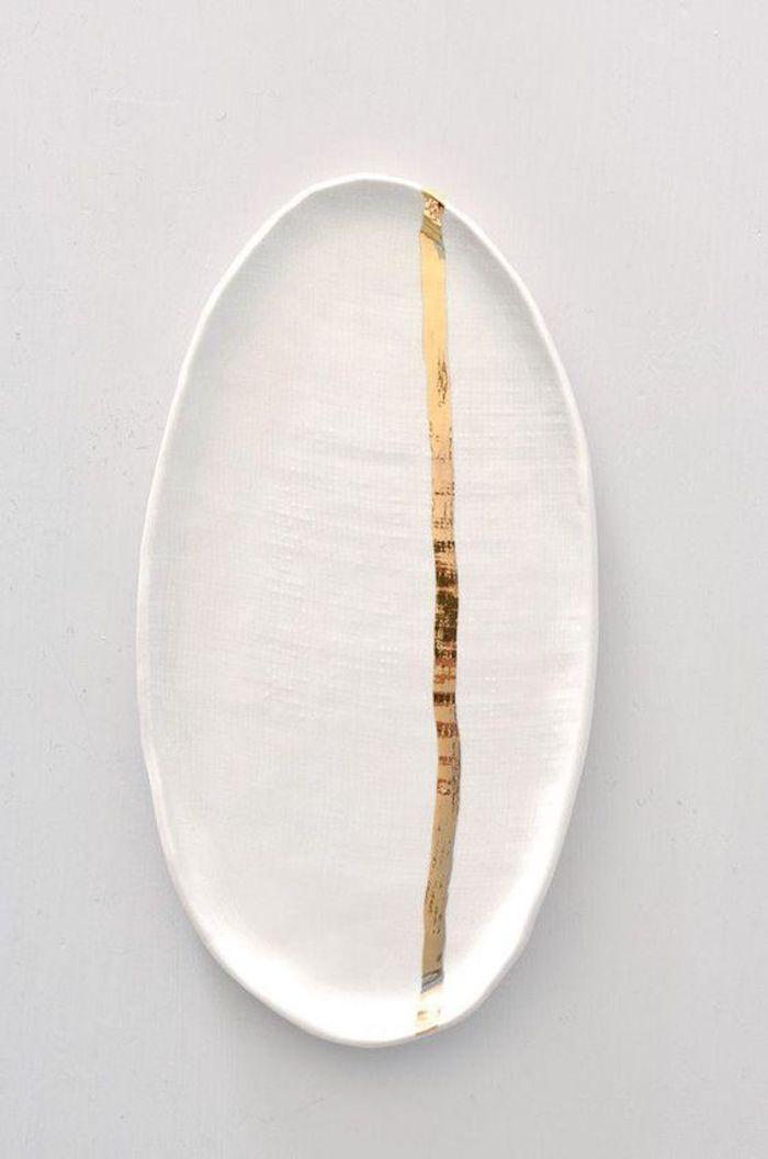 kintsugi assiette plat or céramique réparation diy blog déco