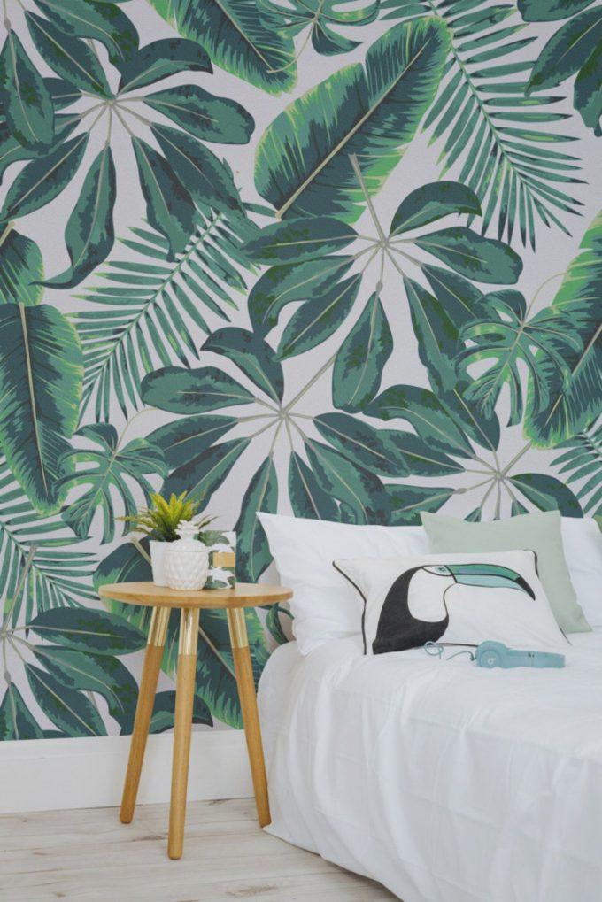 deco feuille de palmier papier peint chambre blog decoration interieur clemaroundthecorner