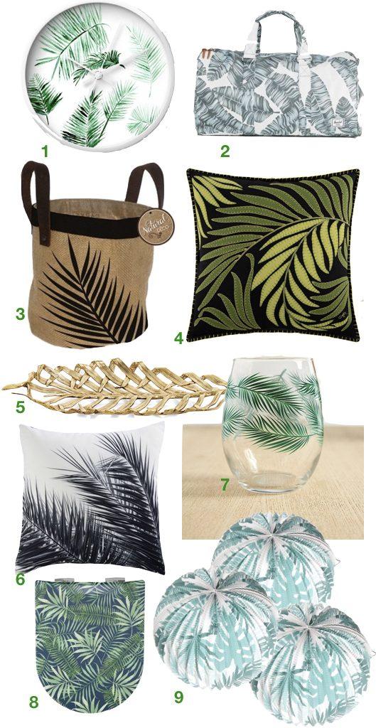 deco feuille de palmier soiree coussin blog design clemaroundthecorner
