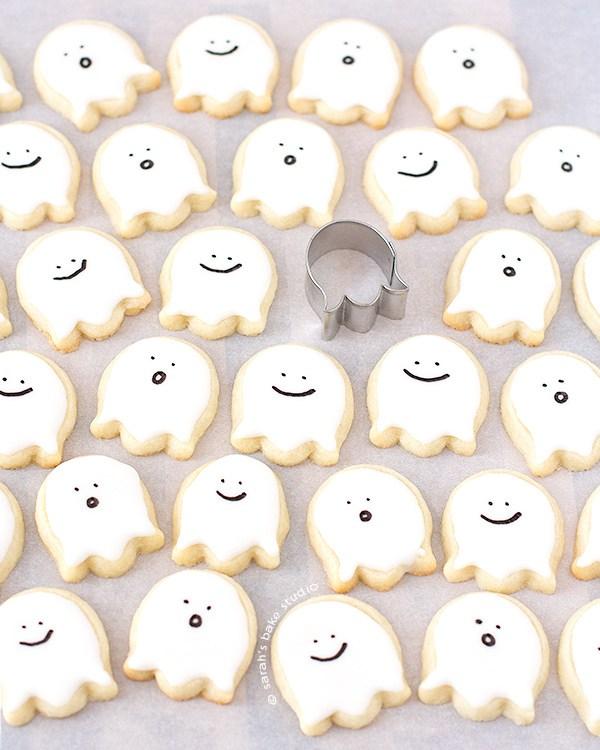 idée recette cookies blanc fantôme biscuit glacage pour fête du 31 octobre