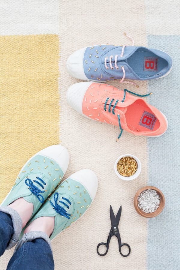 comment customiser ses chaussures perles rocailles diy
