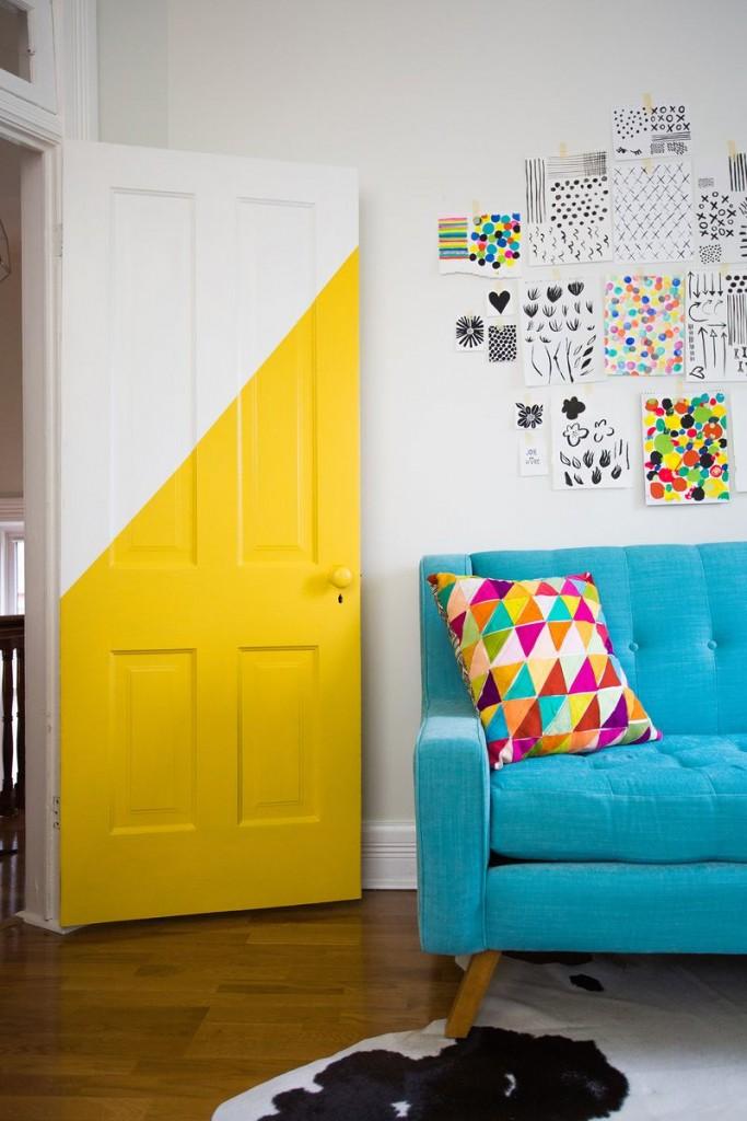 idée décorer une porte forme jaune blog déco clem around the corner