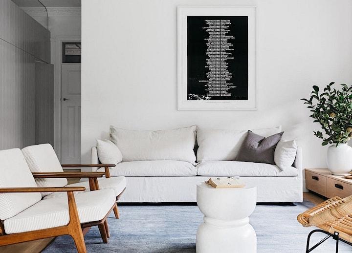 bungalow californien scandinave chic salon blanc blog déco clemaroundthecorner