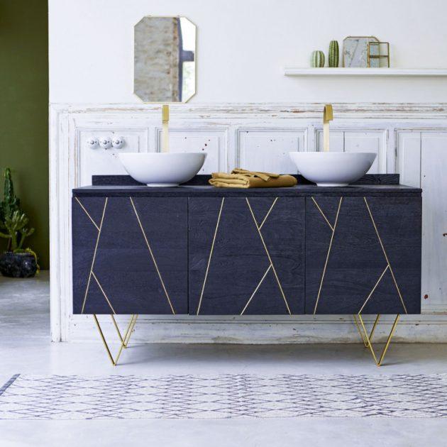 meuble salle de bain art déco bleu laiton or marbre