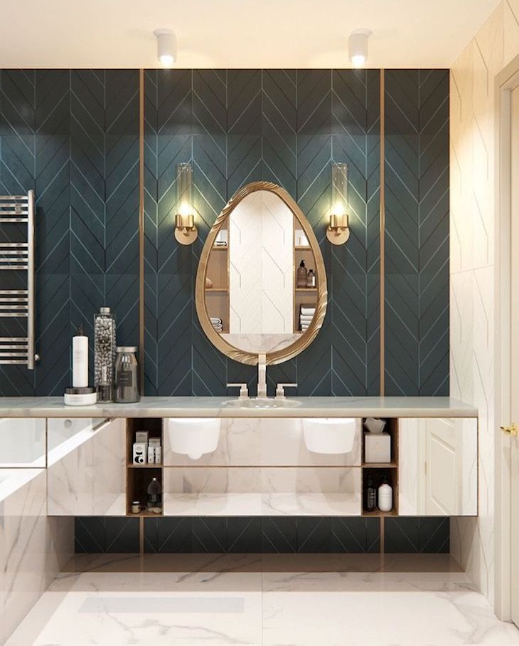 salle de bain art deco carrelage bleu canard blog clem around the corner