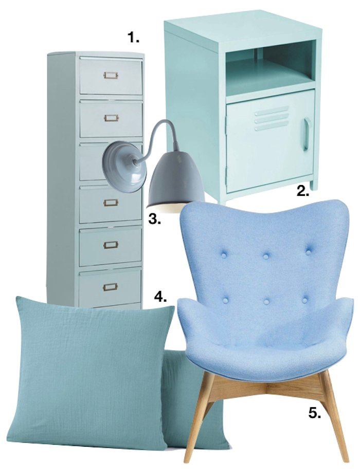 bleu glacier chambre rangements table coussin lampe