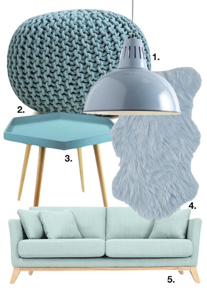 bleu glacier salon pouf lampe tapis canape