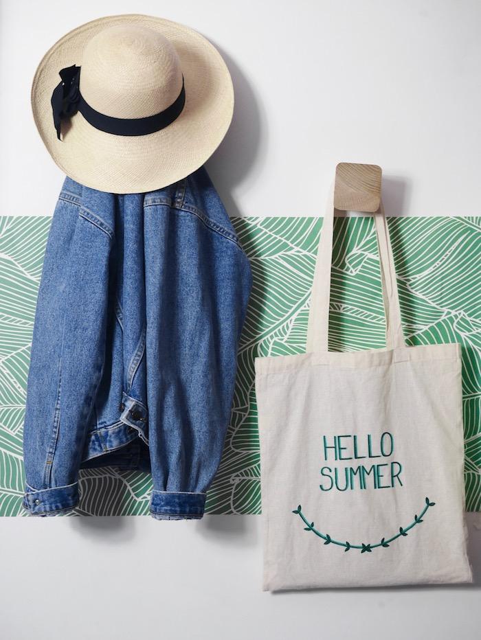 activité facile totebag diy cadeau maitresse original feutre textile veste jean accroche jungle