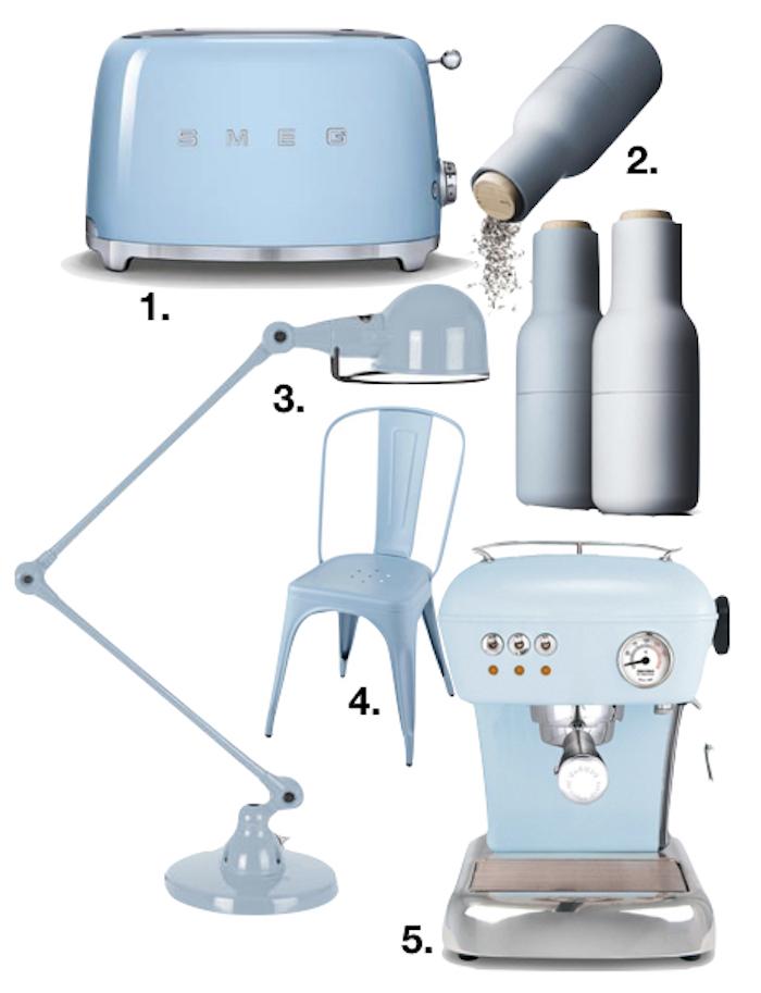 bleu glacier cuisine grille pain lampe chaise sel poivre cafe