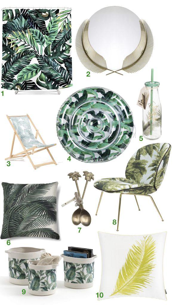 blog déco feuille de palmier clemaroundthecorner meuble miroir coussin