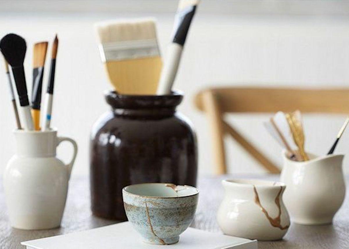 kintsugi céramique or pinceau réparation vaiselle diy blog déco clemaroundthecorner