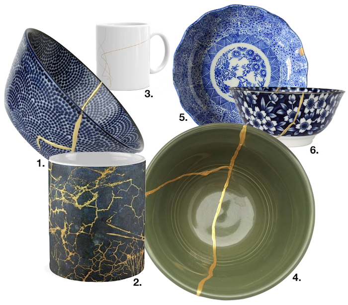 kintsugi shopping list bol assiette vaisselle japon or fissure dorée bleu vert art