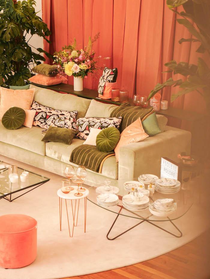 monoprix déco 2018 2019 blog déco clemaroundthecorner blush canape salon floral jungle