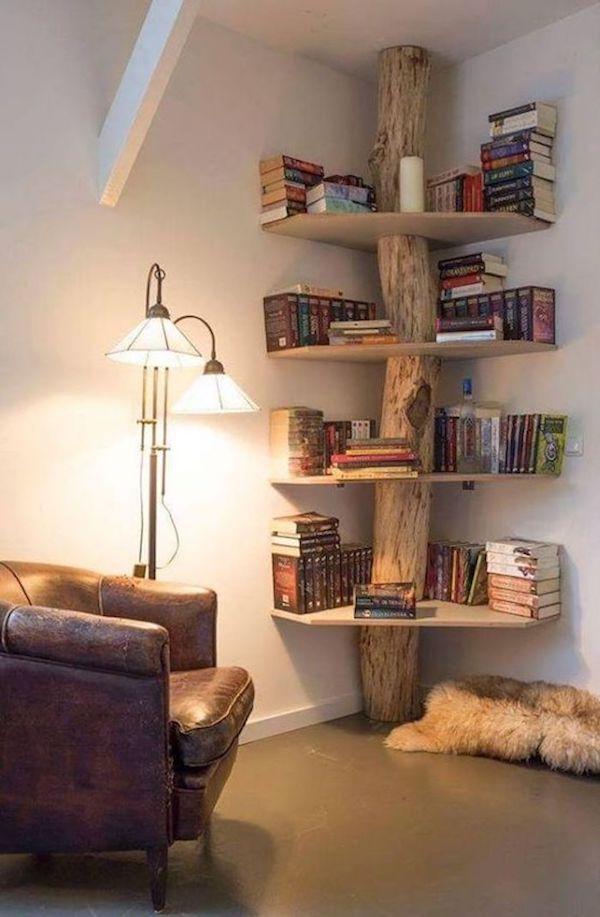 que faire avec un morceau de tronc d'arbre bibliotheque coin lecture livres