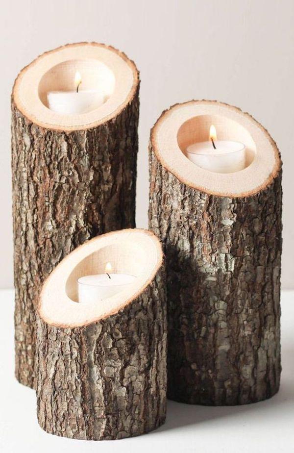 que faire avec un morceau de tronc d'arbre bougies