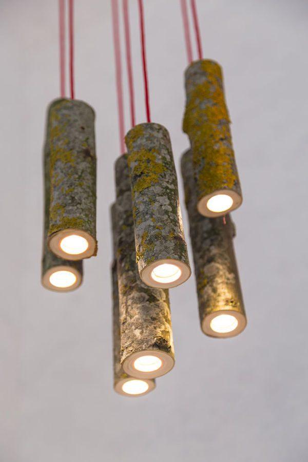 que faire avec un morceau de tronc d'arbre luminaire lampe originale suspension