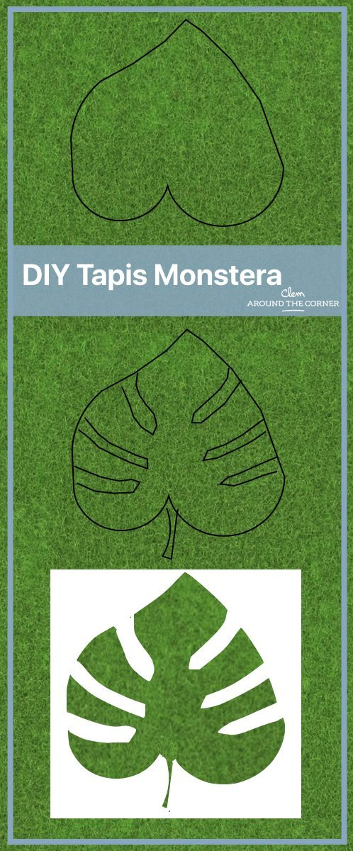 tapis feuille monstera diy patron blog déco clem around the corner