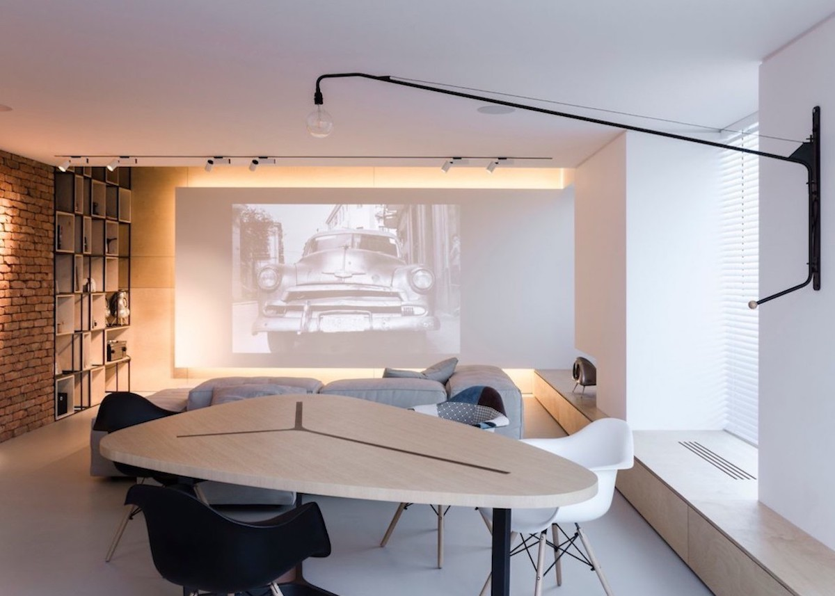 appartement esprit loft salon salle à manger lampe