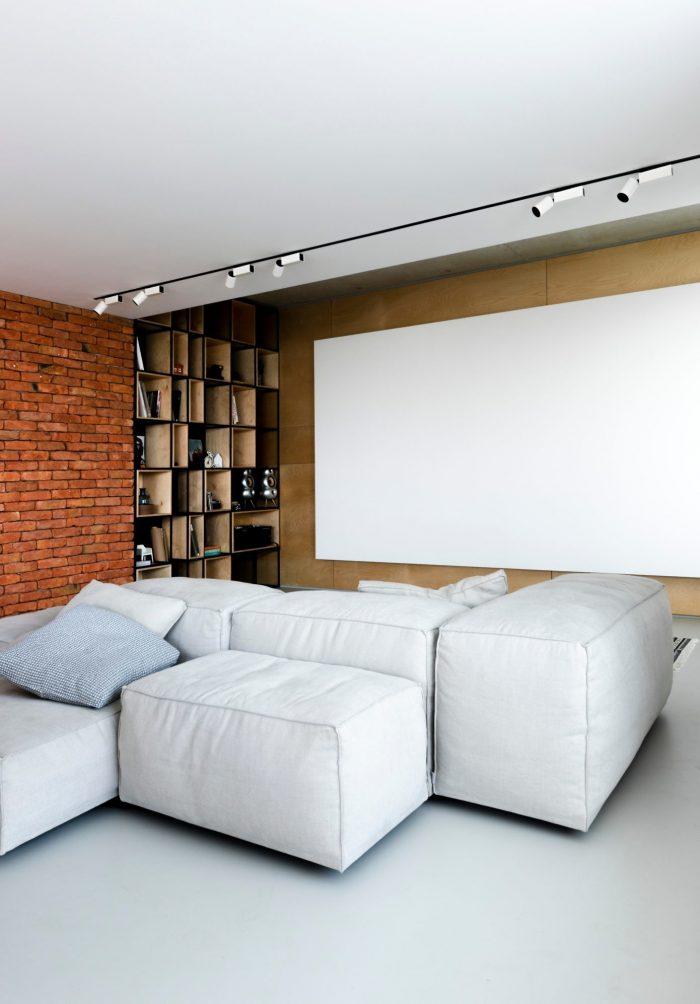 appartement esprit loft salon bibliothèque