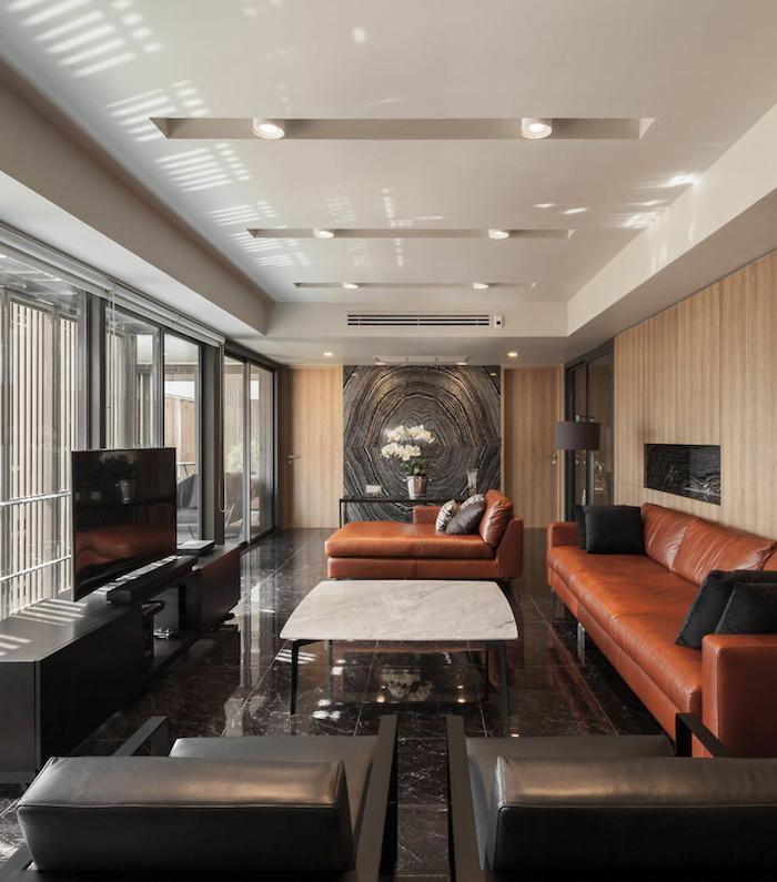 appartements à bangkok salon noir appartement cuir bois vue
