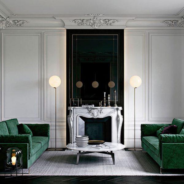nature deco nuance de vert salon symetrie
