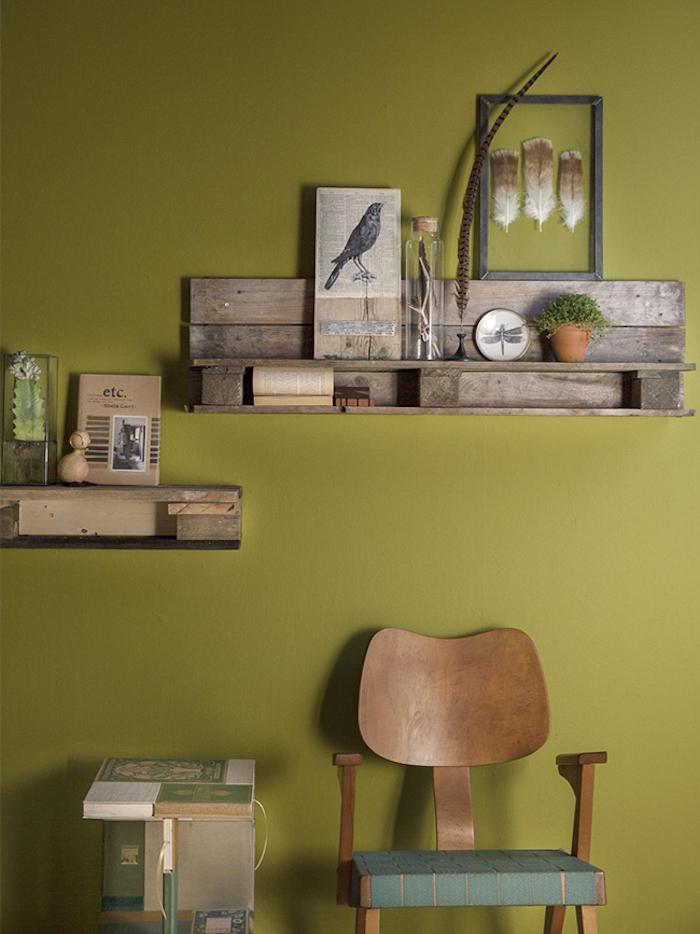 étagère palette nuance de vert