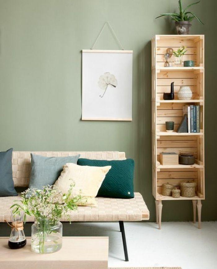 nuance de vert bois clair banquette blanc