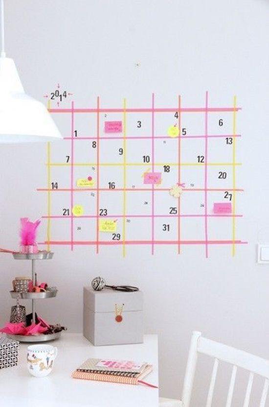 que faire avec du masking tape calendrier couleurs rose jaune planning