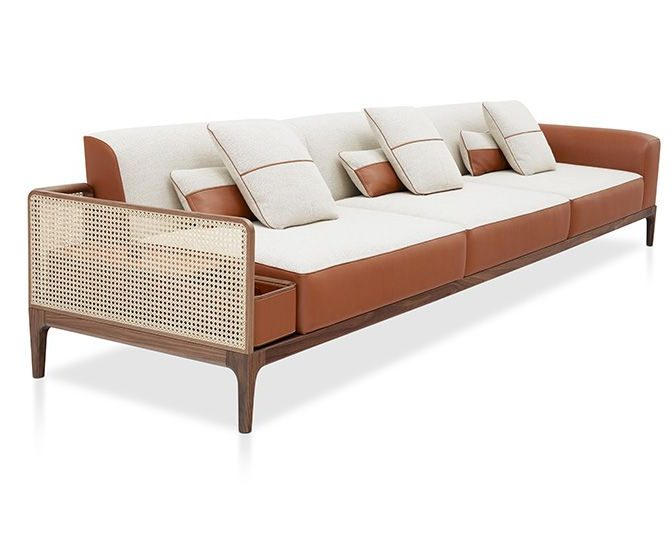canapé moderne hermes noe Duchaufour Lawrence cuir et cannage avec coffre