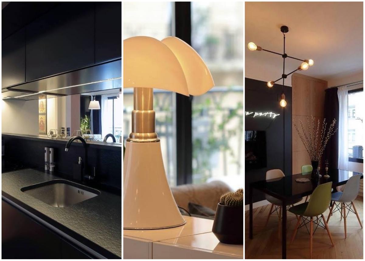 cover appartement chic parisien quai dorsay pipistrello cuisine noire