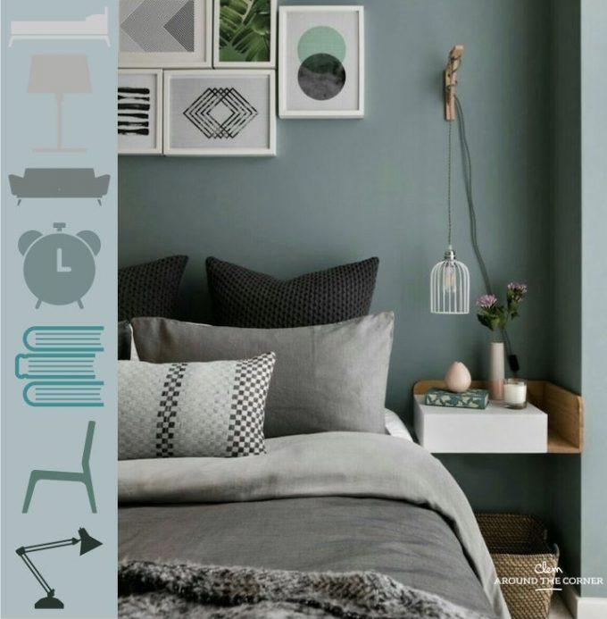chambre déco nuance de vert sauge blog décoration intérieur clemaroundthecorner