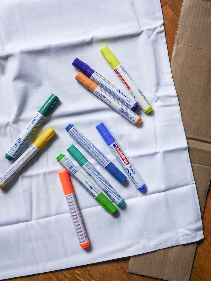 motivation quotes coussin matériel feutres textile housse blanche morceau carton