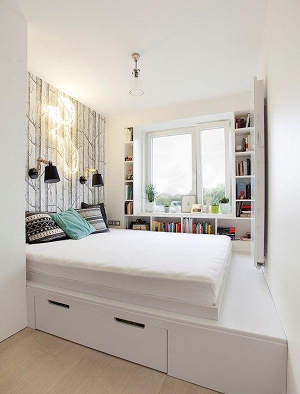 chambre dans salon lit mezzanine idée déco studio ikea hack